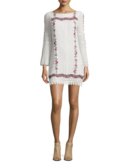 Alice + Olivia Riska Embroidered Mini Dress, Multi Colors