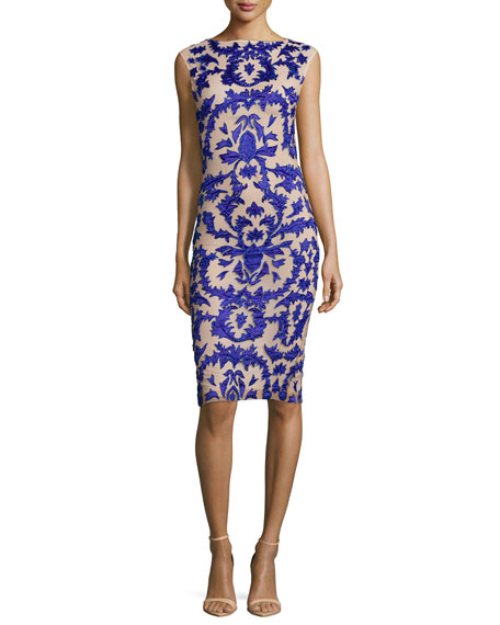 Alice + Olivia Tamika Embellished Sheath Dress, Blue