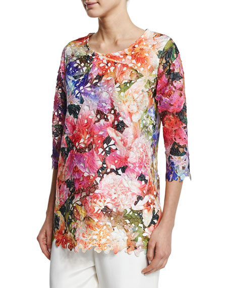 Caroline Rose 3/4-Sleeve Floral Lace Top & Silk