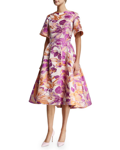 Sixties Floral Short-Sleeve Swing Dress, Lilac
