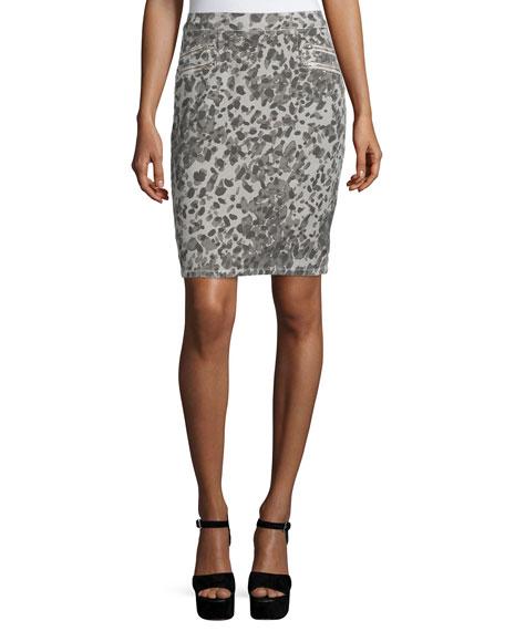 Current/Elliott The Geneva Leopard Pencil Skirt, Steel Gray