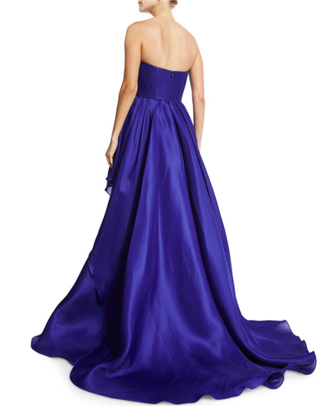 Solid Tiered Strapless Gown