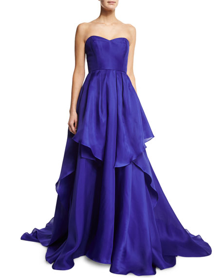 Badgley Mischka Solid Tiered Strapless Gown