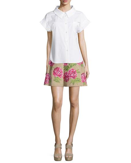Floral Embroidered Flirt Skirt, Sand