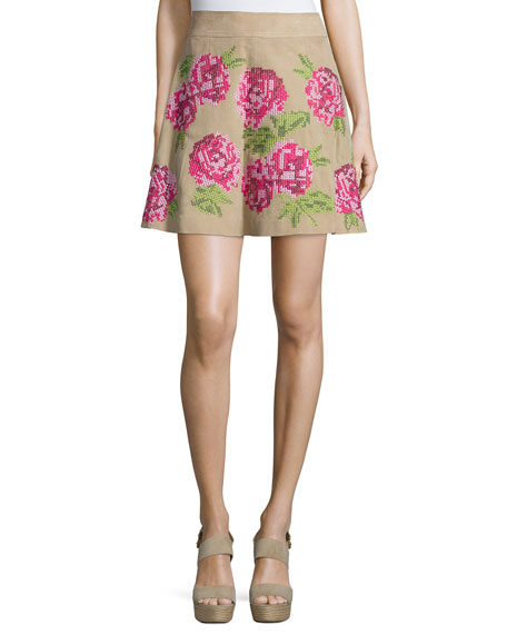 Michael Kors Collection Floral Embroidered Flirt Skirt, Sand