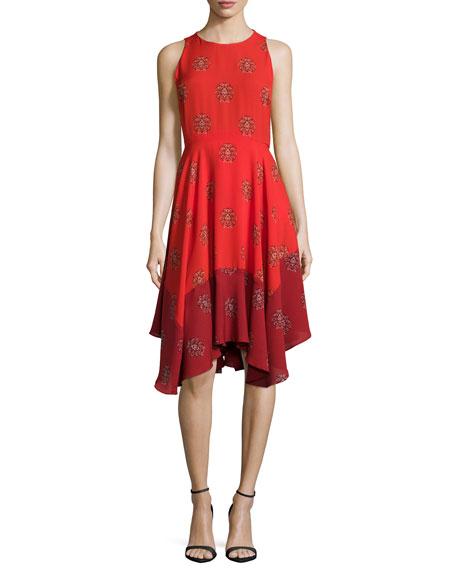A.L.C. Elisa Sleeveless Printed Dress, Red Multi