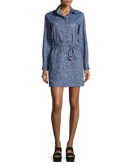 Kenzo Long-Sleeve Embroidered Shirtdress, Working Blue
