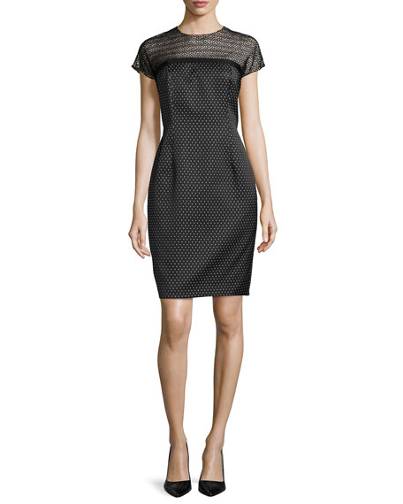 Carmen Marc Valvo Cocktail Dress with Beaded Illusion