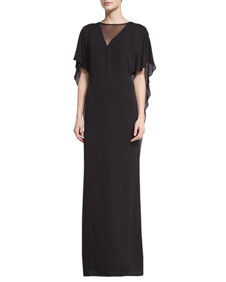 Halston Heritage Illusion-Neck Caftan-Style Evening Gown, Black