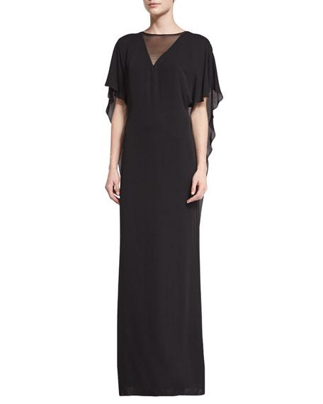 Halston Heritage Illusion-Neck Caftan-Style Evening Gown, Black