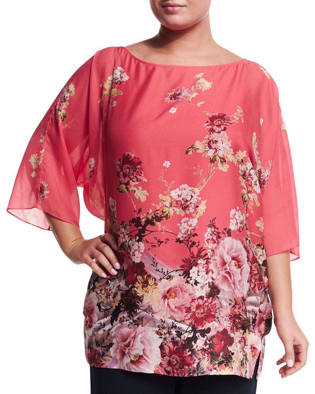 7edb8987b66 Marina Rinaldi Fresia Floral-Print Tunic, Plus Size | Neiman Marcus
