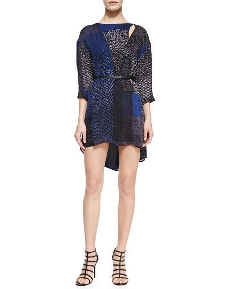 Halston Heritage Georgette 3/4-Sleeve Kaftan Dress