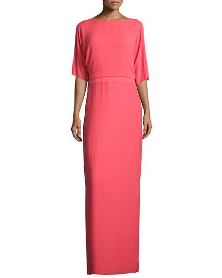 Halston Heritage Half-Sleeve Column Evening Gown, Poppy