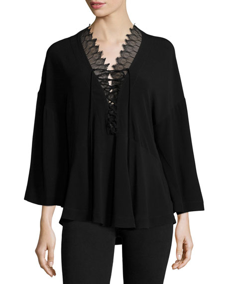Iro Emilda Knit Lace-Front Top, Black