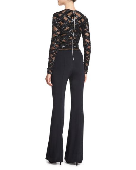 Long-Sleeve Embellished-Top Jumpsuit, Black