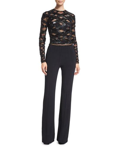 Zuhair Murad Long-Sleeve Embellished-Top Jumpsuit. Black