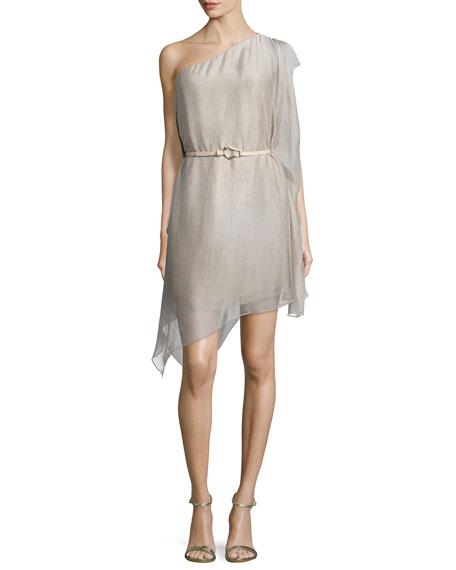 One-Shoulder Belted Dress, Dark Bone