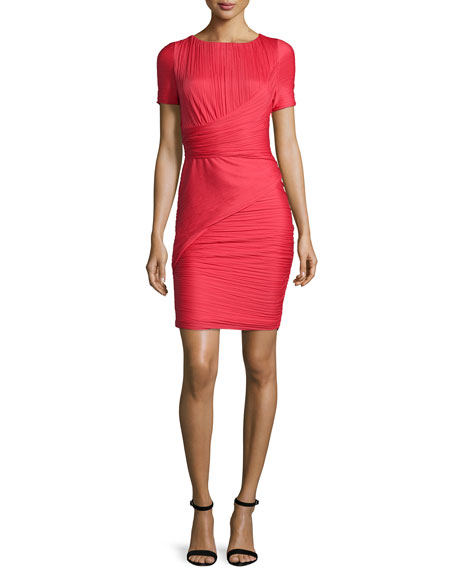 Halston Heritage Short-Sleeve Bandage Cocktail Dress, Vermillion