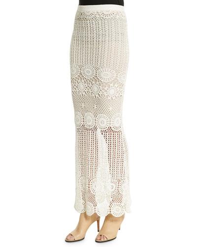 Griselda Crochet Maxi Skirt, Cream