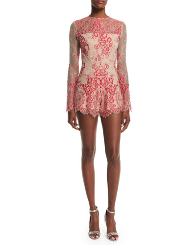 Li Long-Sleeve Lace Romper, Red