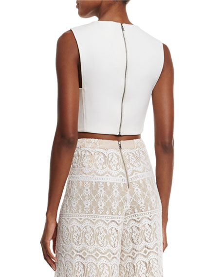 Cressida Sleeveless Cropped Top, White