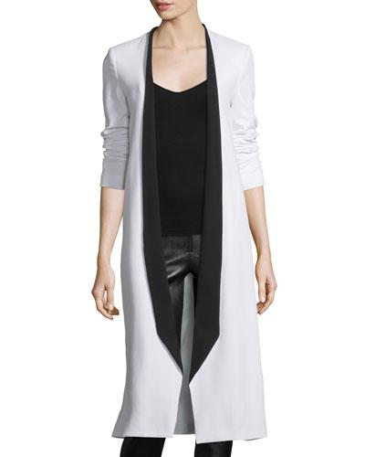 Rosamund Open-Front Long Crepe Jacket, White/Black