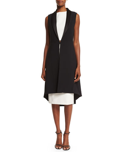 Soni Long Sleeveless Jacket, Black