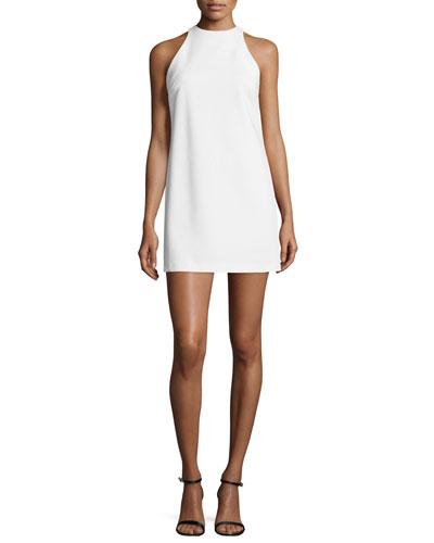 Lizbeth Sleeveless Crepe Mini Dress, White