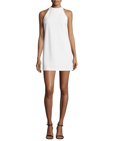 Alice + Olivia Lizbeth Sleeveless Crepe Mini Dress, White