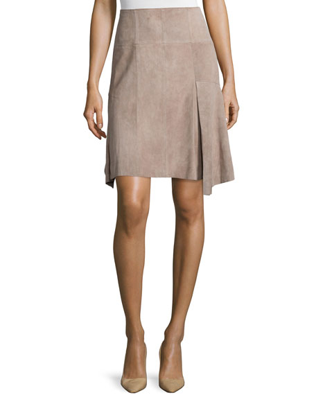 Halston Heritage Suede A-Line Skirt, Stone