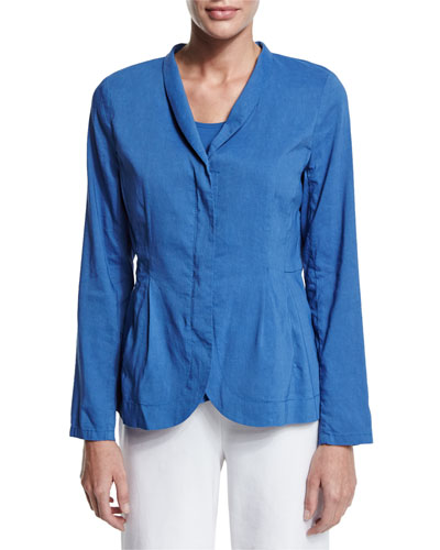 Shawl-Collar Peplum Jacket, Blue