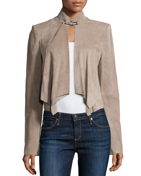 Halston Heritage Cropped Suede Overlay Jacket