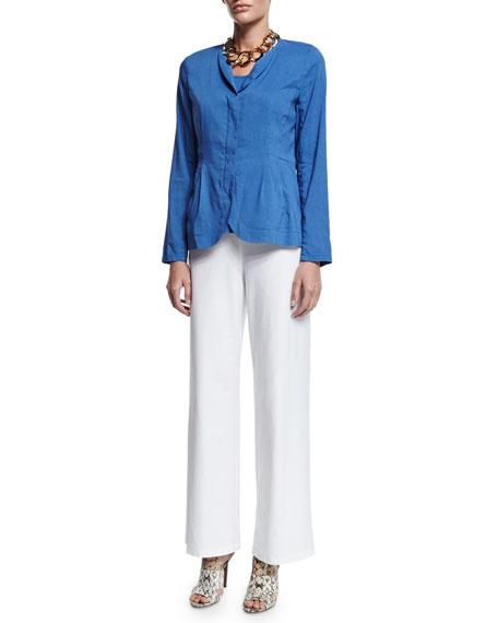 Wide-Leg Stretch-Crepe Pants, Plus Size