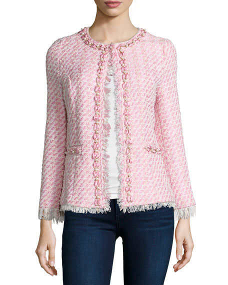 Michael Simon Tweed Beaded Jacket, Petite
