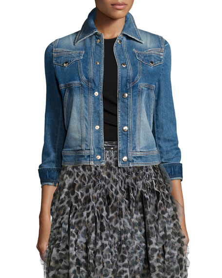 Just Cavalli Stretch Denim Cropped Jacket