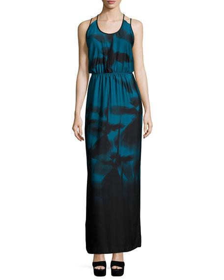 Halston Heritage Sleeveless Strappy-Back Maxi Dress, Atlantic