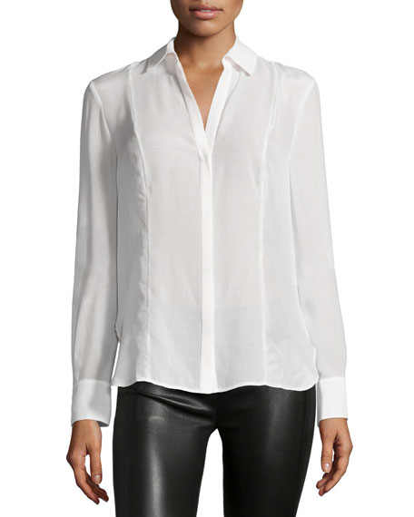 Halston Heritage Long-Sleeve Collared Shirt, Linen White