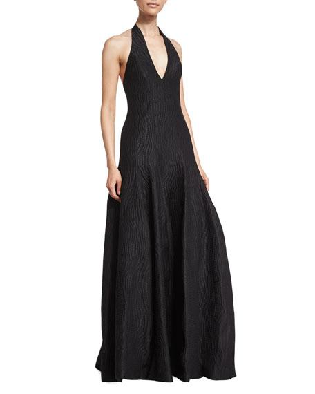Deep-V-Neck Tulip Gown, Black