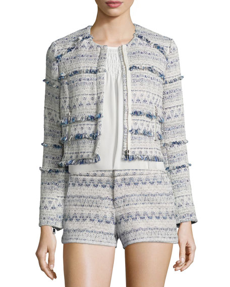 Joie Tesita Embroidered Jacket W/Fringe, Deep Chambray/Porcelain