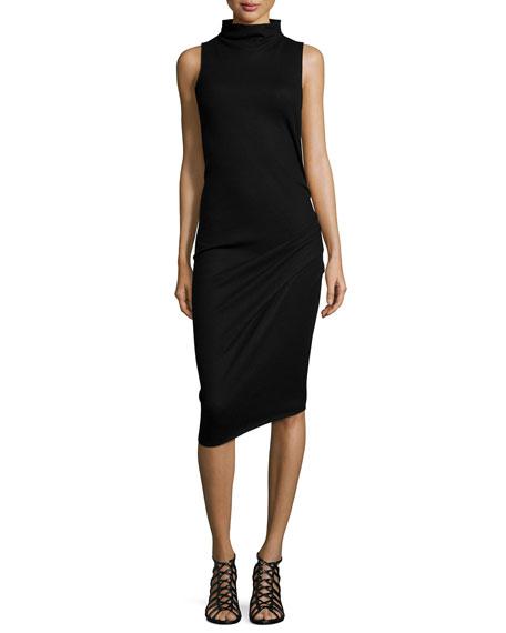 Sleeveless Funnel-Neck Sheath Dress, Black