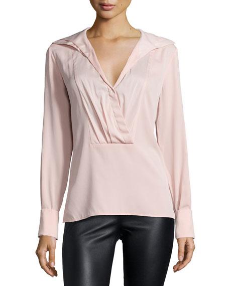 Halston Heritage Long-Sleeve Pleated-Front Shirt, Sorbet