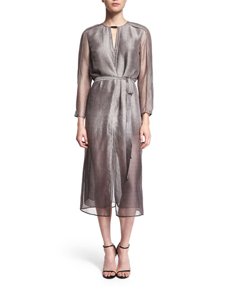 Halston Heritage 3/4-Sleeve Belted Shirtdress, Gravel Print