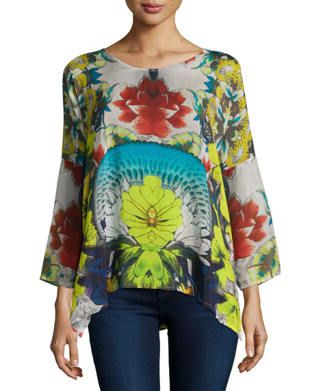 Johnny Was Collection Barra Floral-Print Flutter Blouse, Women's