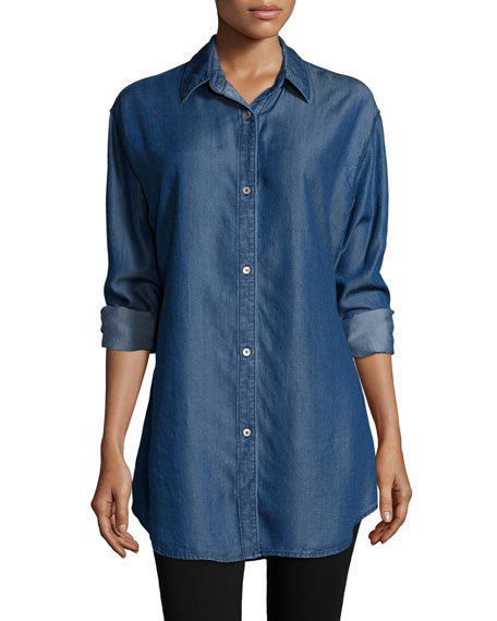 Long-Sleeve Button-Front Denim Shirt, Plus Size