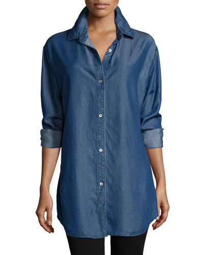 Long-Sleeve Button-Front Denim Shirt, Women's
