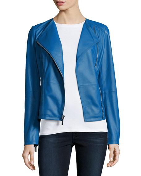 Neiman Marcus Asymmetric Zip-Front Leather Jacket, Cobalt Blue