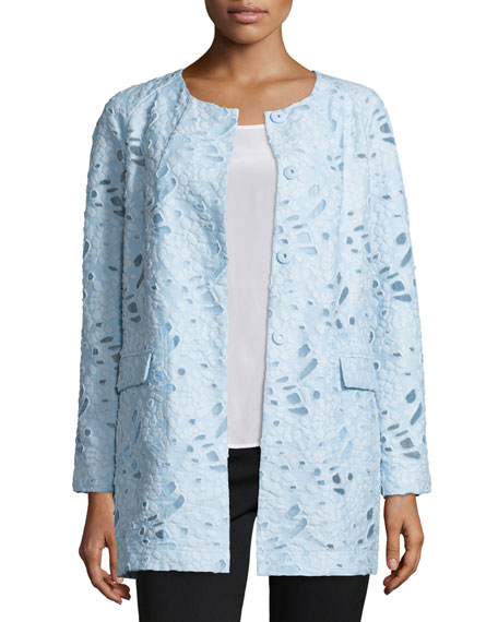 Neiman Marcus Jacquard Burnout Topper Coat