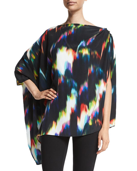 Trina Turk 3/4-Sleeve Tie-Dye Poncho, Multi Colors