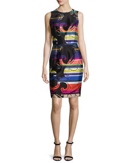 Trina Turk Sleeveless Printed Sheath Dress, Multi Colors