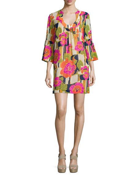 Trina Turk 3/4-Bell-Sleeve Floral-Print Dress